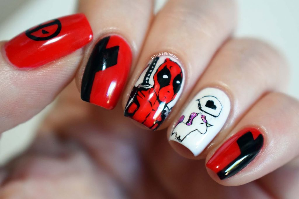 Marvel Deadpool nerdy nails