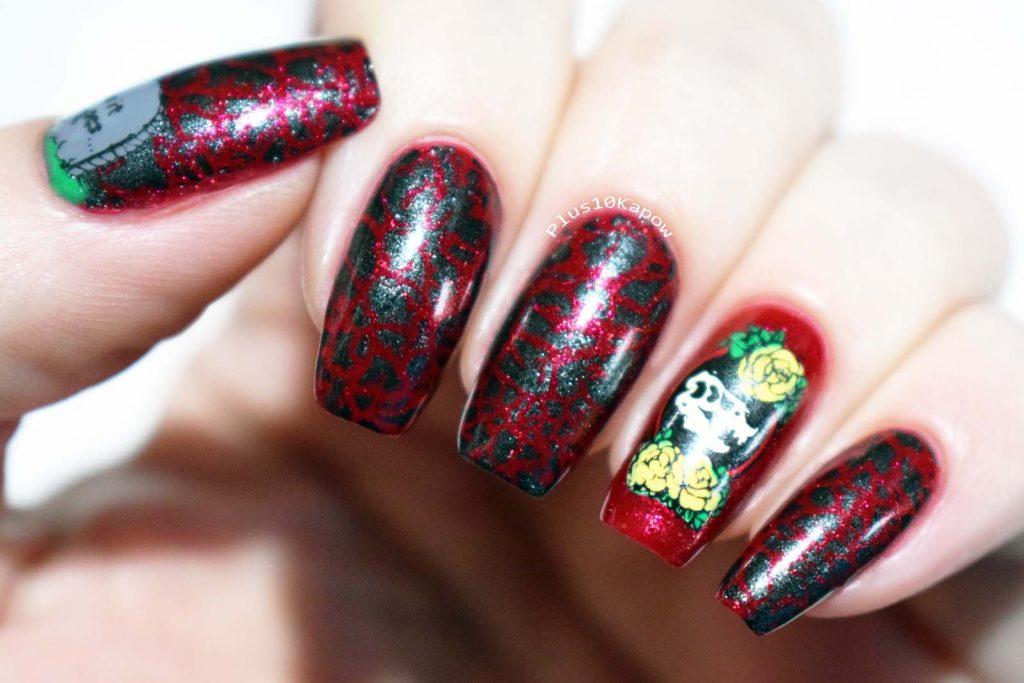 Maniology Rebel Yell stamping Dinosaur nerdy nails