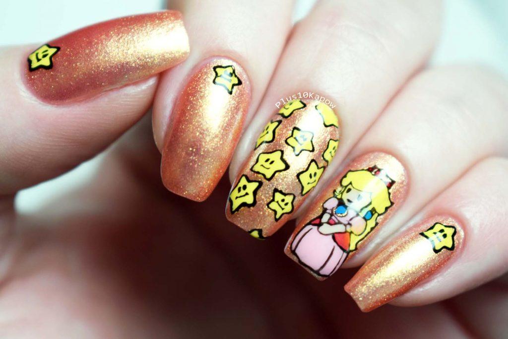 Princess Peach nerdy nails Barry M Molten Metals