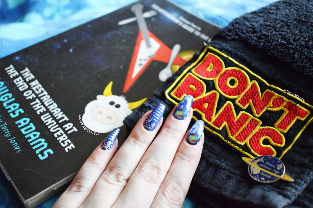 Hitchhikers Guide to the Galaxy nerdy nails Don't Panic
