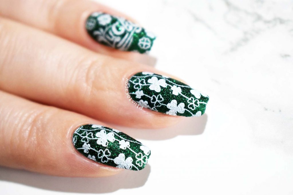 St. Patrick's Day nails using Beauty Big Bang XL-067 Zoya Elphia