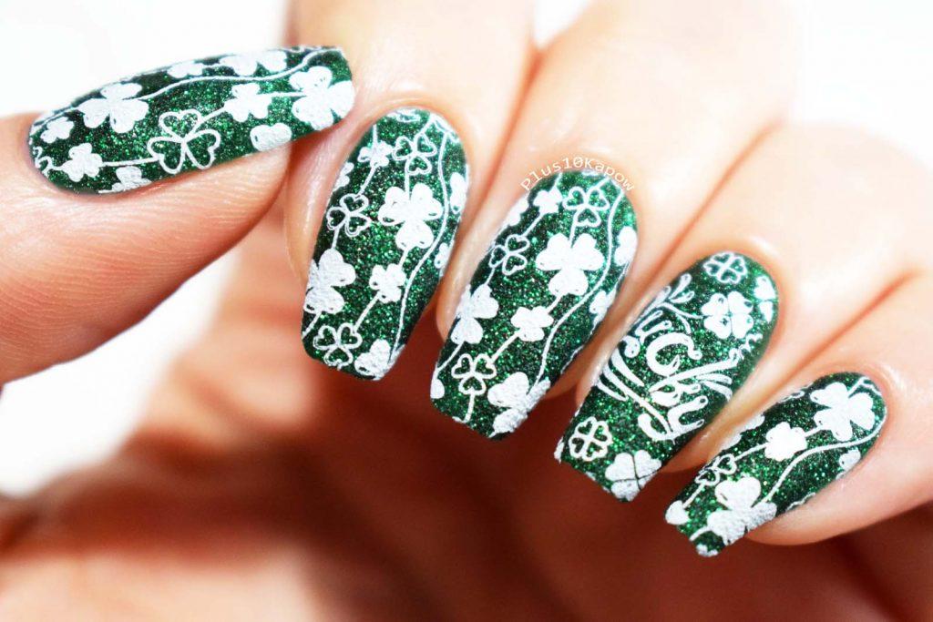 St. Patrick's Day nails using Beauty Big Bang XL-067 Zoya Elphie