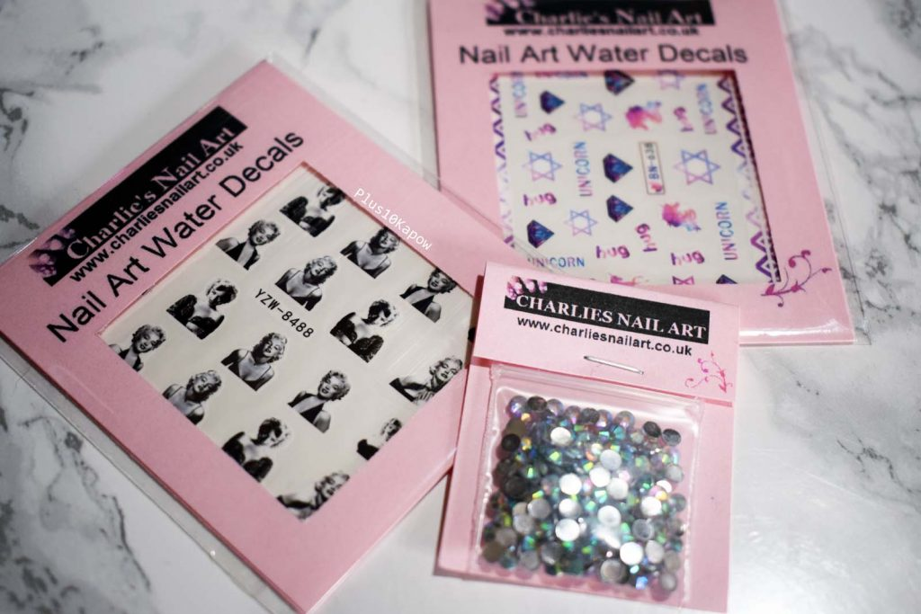 Charlie's Nail Art water decals and rhinestones