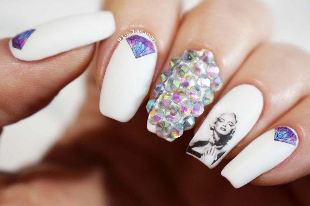 Marilyn Monroe rhinestoned matte nails