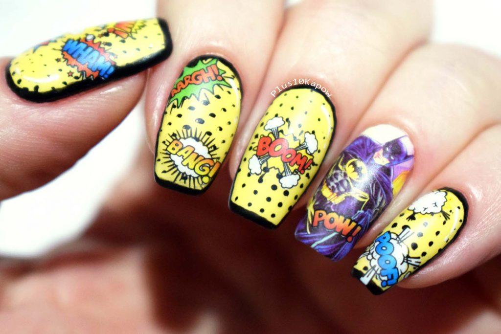 Batman Nails comic book inspired nerdy nails