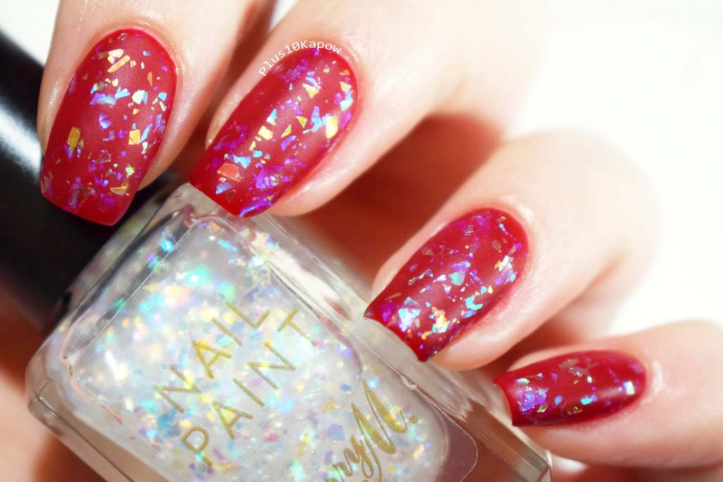 Barry M Fortune Teller Flakie iridescent topcoat swatch and review