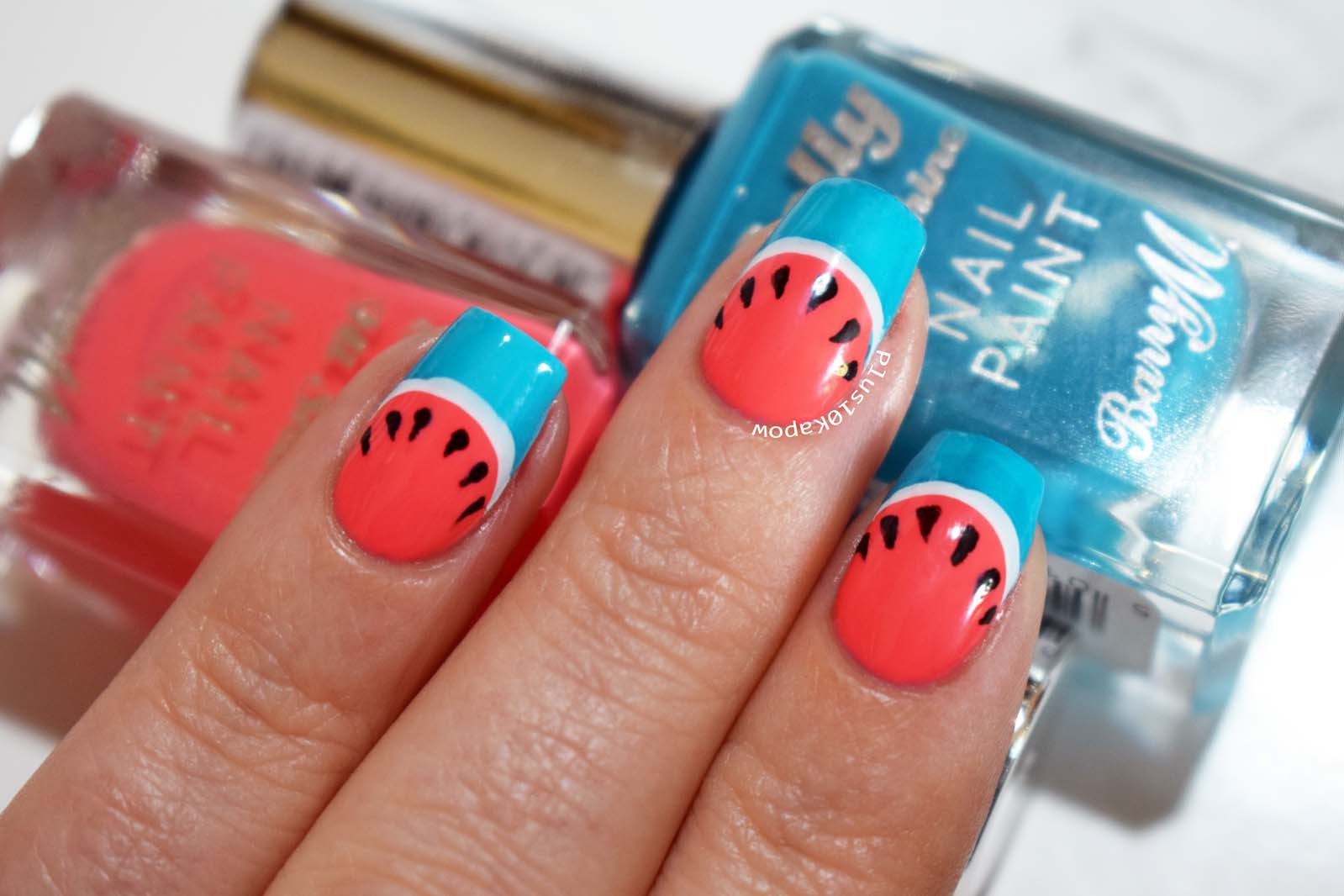 Watermelon nails using Barry M nail paints