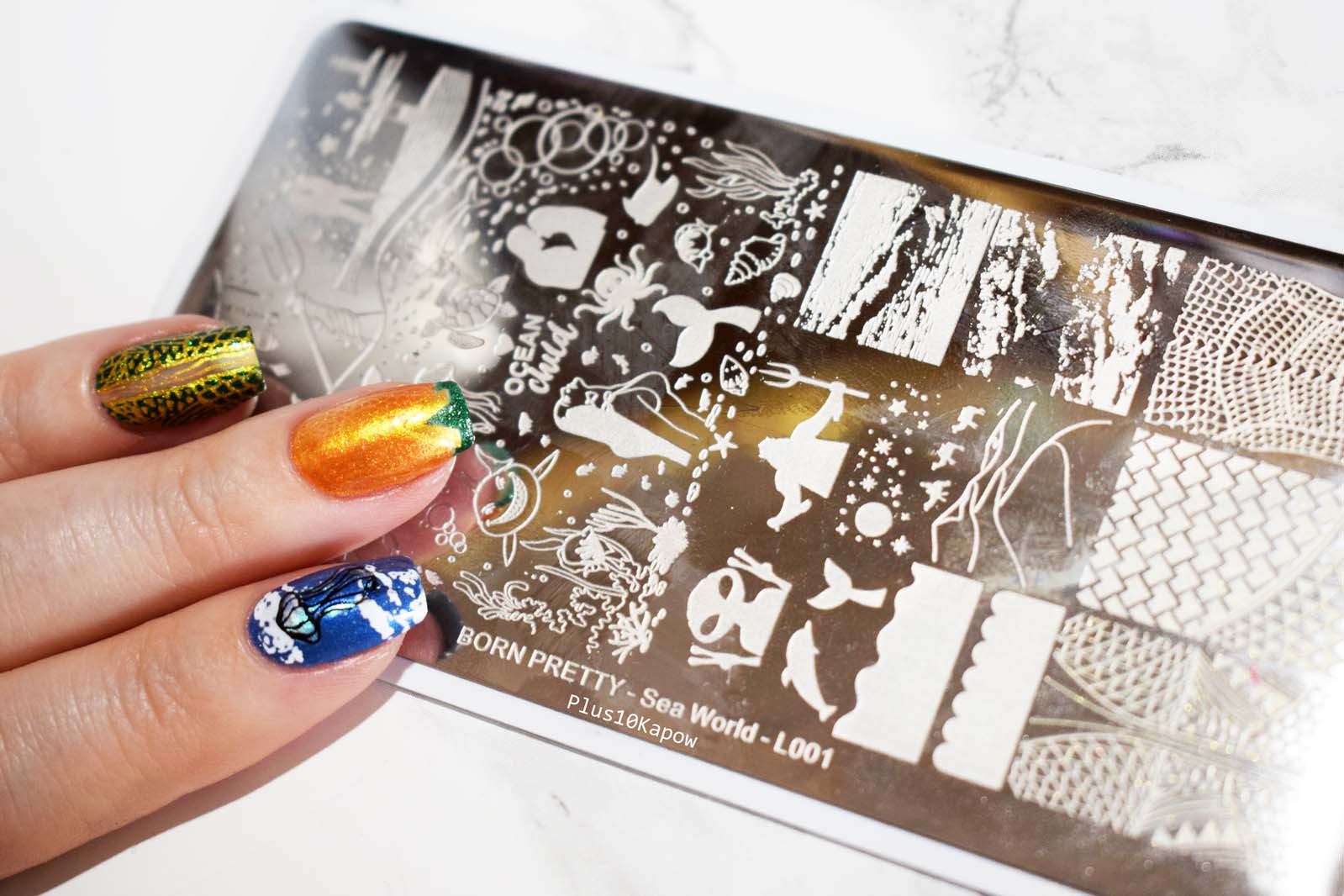 Born Pretty Store Sea World L001 stamping plate Plus10Kapow