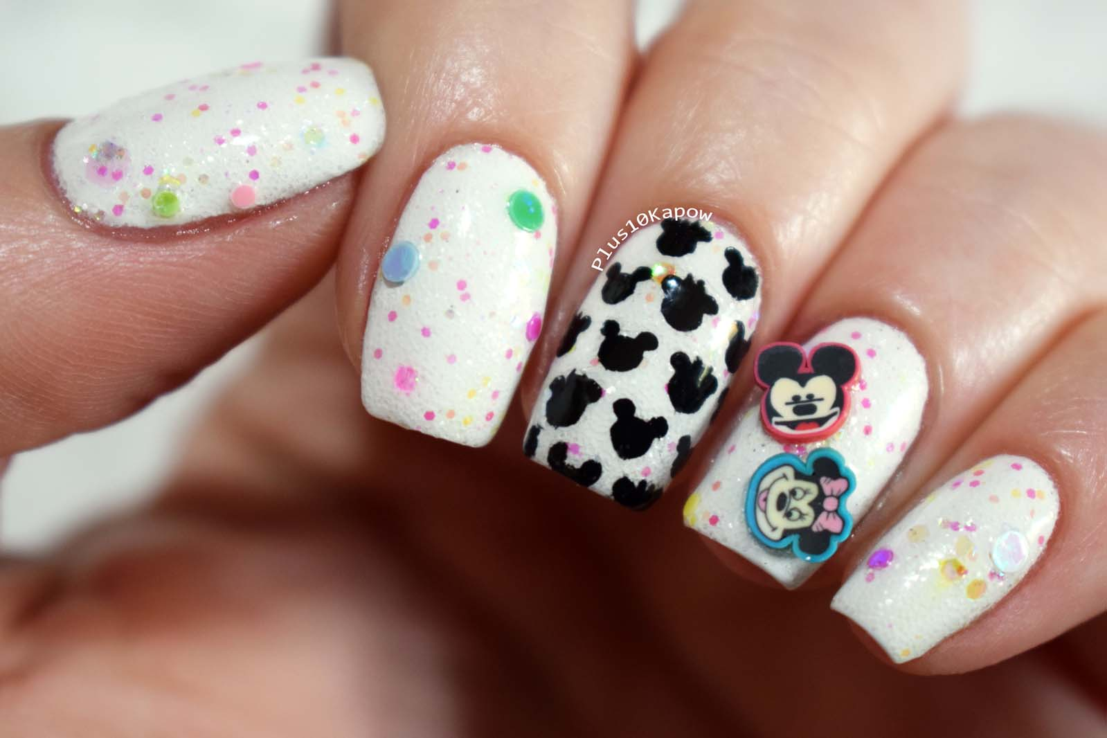 Mickey and Minnie glitter crelly nails Plus10Kapow
