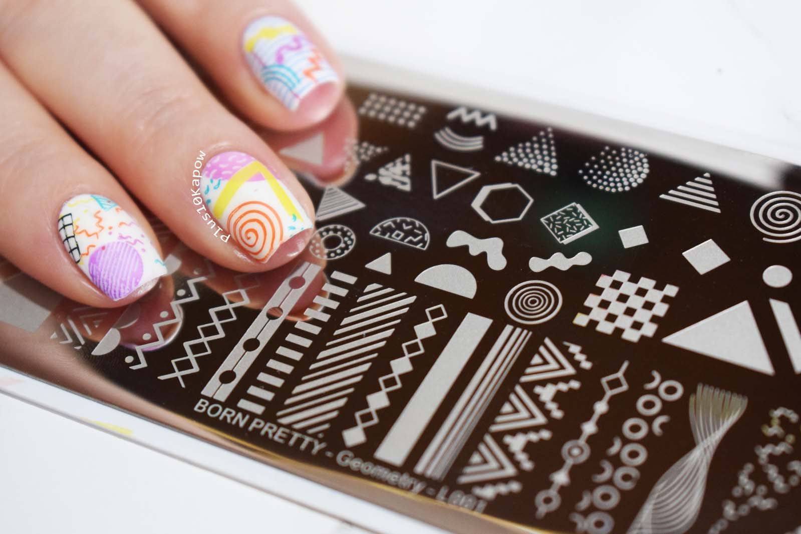 90s nail art Born Pretty Geometry L001 plate Plus10Kapow