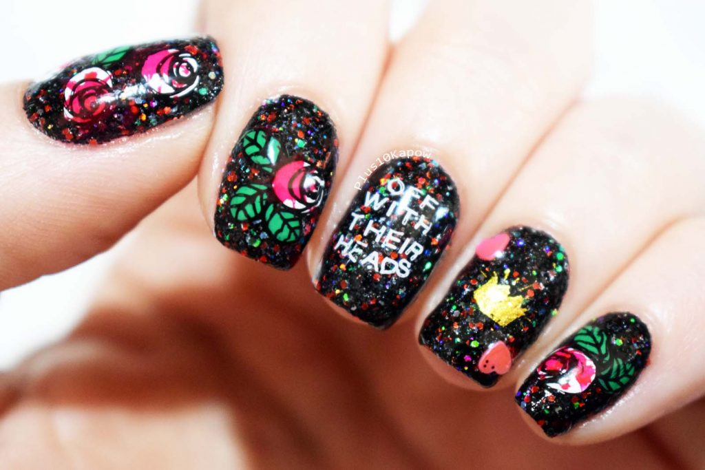 Disney Alice in Wonderland Queen of Hearts nail art Off with their heads