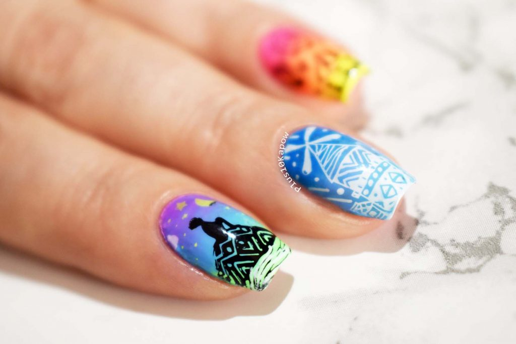 Beauty Big Bang XL-070 BBBXL-070 Stamping plate skyline gradient nails Wikkid Polish Bring on Spring Pastel Neons