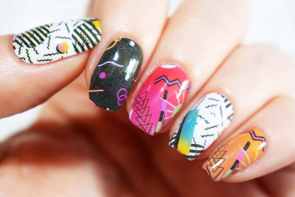 Espionage Cosmetics Blast from the Past nail wraps 80s 90s retro nails