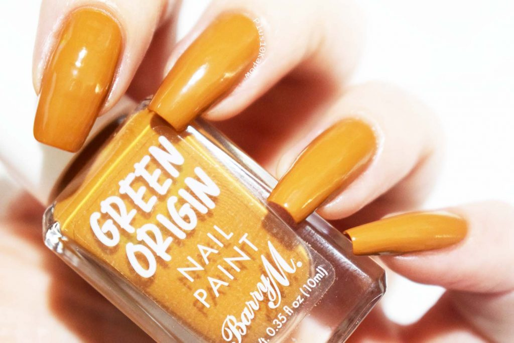 Barry M Green Origin collection swatches Butterscotch