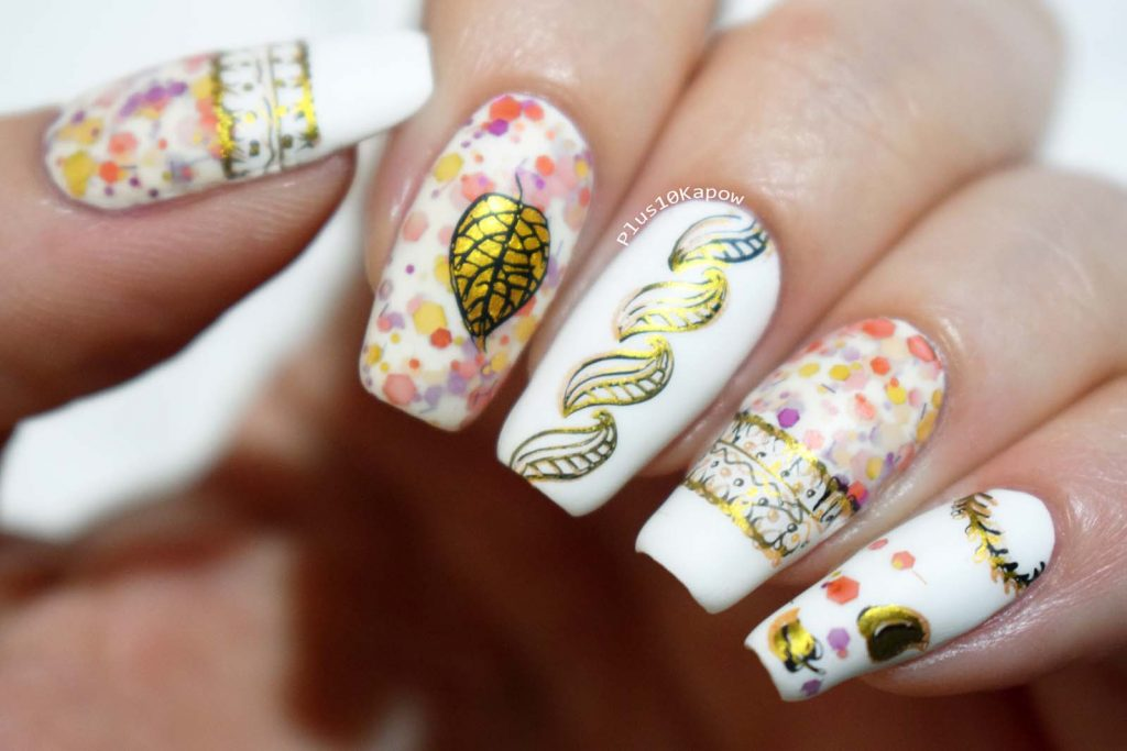 Autumnal Nail Art using Nicole Diary 088 and Kbshimmer You Autumn Know
