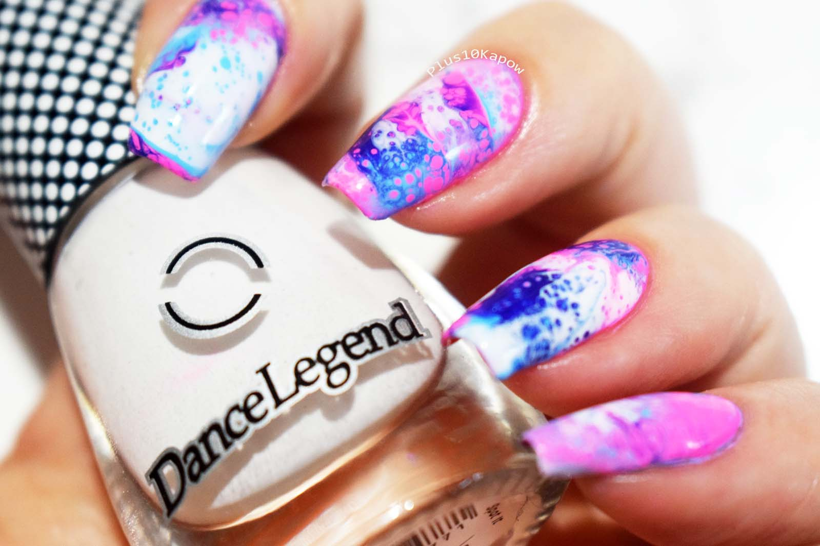 Dance Legend Spot it! White Fluid nail art