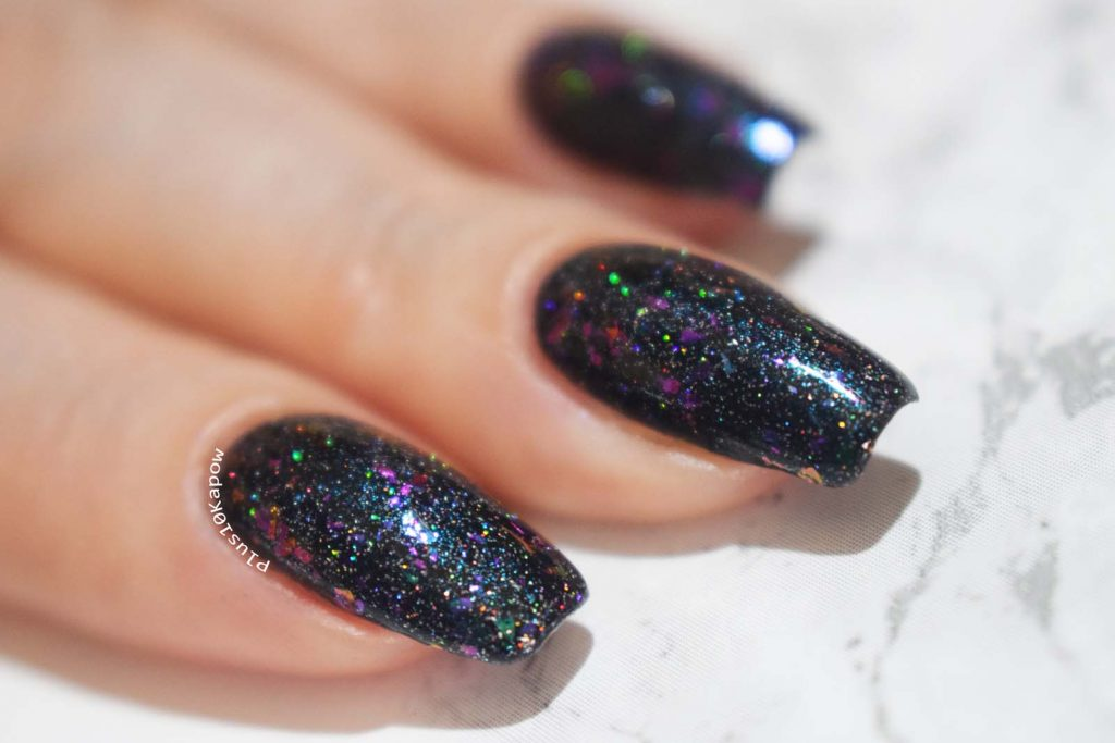 Wikkid Polish Gothic Collection Swatches Seduction glow in the dark flakie topper