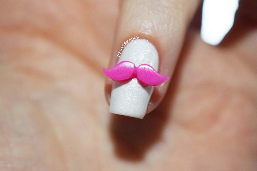 Pink Moustache Charm Charlie's Nail Art