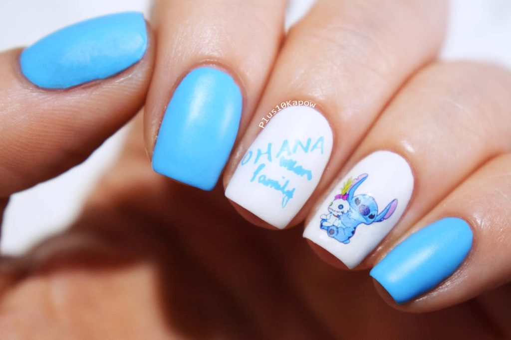 Nail Artisan Cosmetics & Plus10Kapow collab stamping plate Stitch Ohana means family