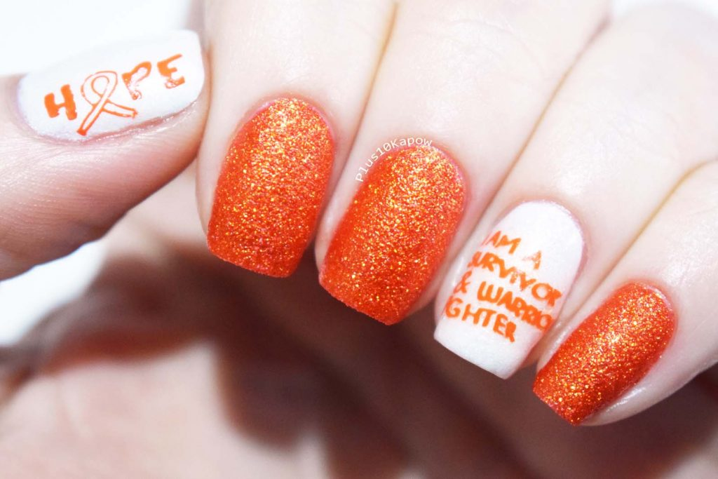 Nail Artisan Cosmetics & Plus10Kapow collab stamping plate Multiple Sclerosis nails