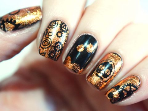 Steampunk C3PO using Charlies Nail Art Copper Foil 1 Plus10Kapow