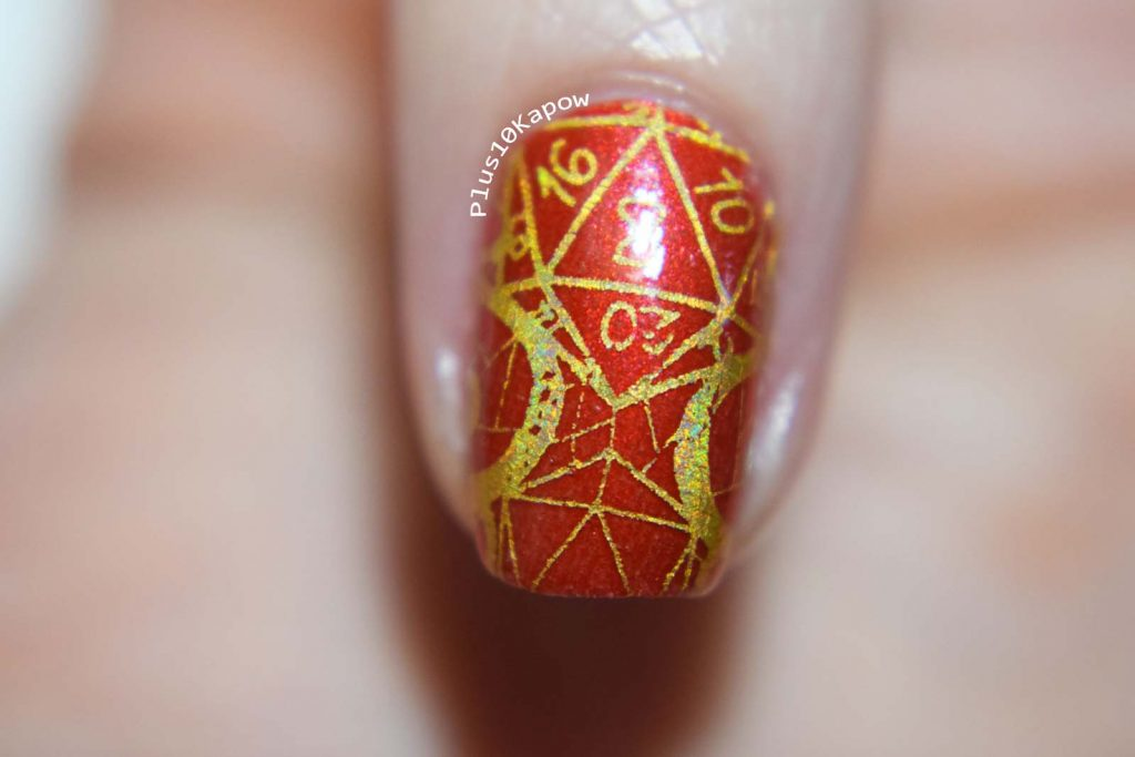 D20 dice set red and gold nails